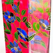 Роспись вазы Голубые незабудки
