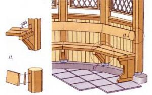 Как сделать скамейки в беседке своими руками фото