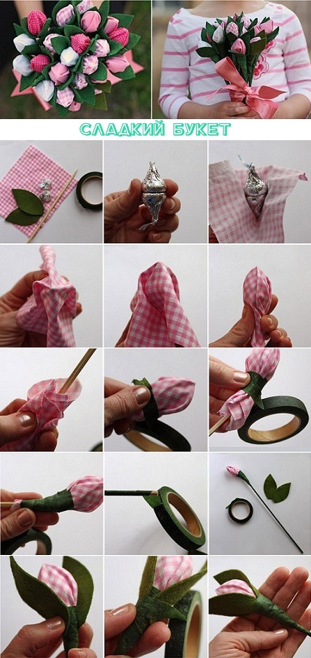 Как сделать тюльпаны из конфет своими руками для начинающих фото
