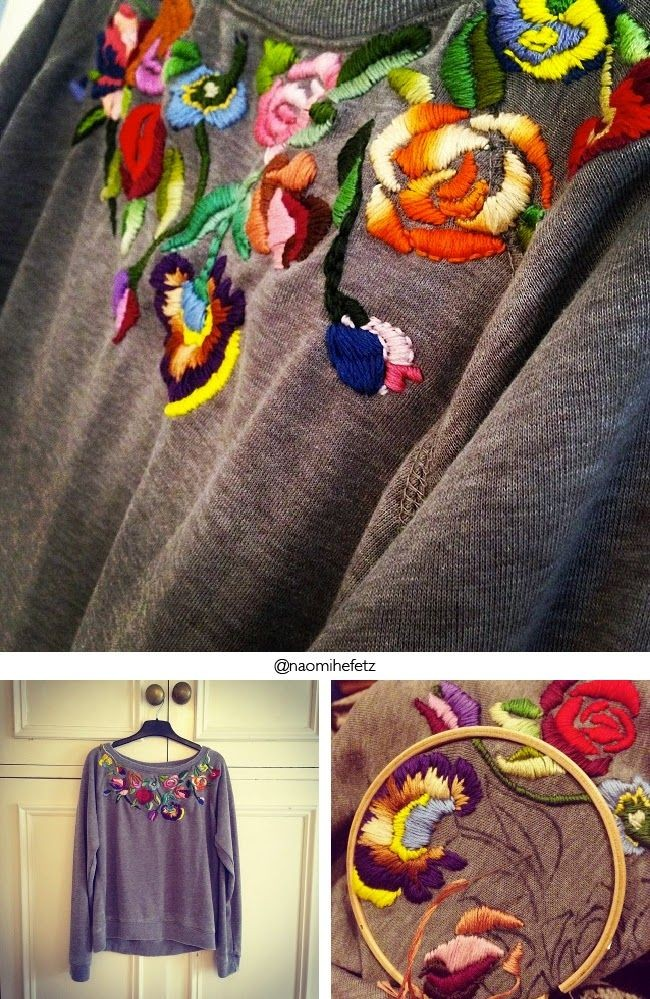 Вышивка на свитере гладью
