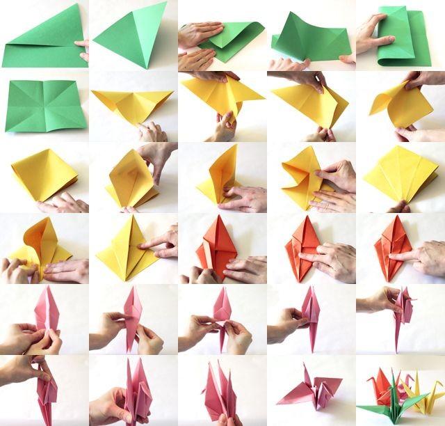 Японский журавлик оригами мастер класс  #2